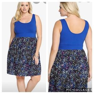Torrid Blue & Floral Tank Dress